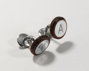 Perfect Gift PERSONALISE CUFFLINKS Wooden High quality Handmade Jewelry by Silver 925, Rosewood or Ebony Wood