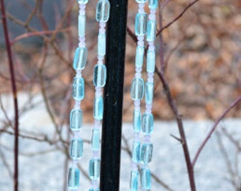 Aqua Necklace, Beach Necklace, Blue Glass Necklace, Long Beaded Necklace, Beach Glass Necklace, Hand Crafted Necklace, Vintage Necklace