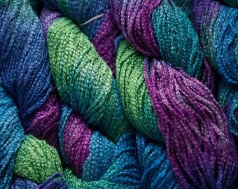 Zig Zag, Hand-dyed Rayon Yarn, 150 yds. -  Iris