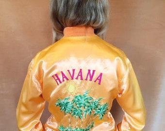 Havana Souvenir Jacket 80s/90s // Orange Sherbet Satin Embroidered Bomber Jacket 1980s/1990s XS/S