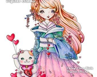 Love Maneki-neko - Instant Download Digital Stmap / Valentine Fortune Lucky Cat Japanese Kimono Dollie Girl by Ching-Chou Kuik