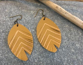 Leather metlic feather earrings in mustard