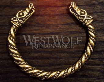 Viking Wolf Head Bracelet in Golden Bronze --- Norse/Medieval/Gold/Jewelry/Torc/Bangle/Fenrir/Wolves