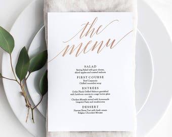 Rose Gold Foil Menu Printable - Wedding Printable Menu PDF - Modern Rose Gold Menu - Instant Download - Editable PDF - 5x7 inches - #GD3701