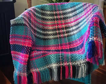 Tartan Style Crochet Throw with Fringe