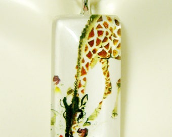 Watercolor giraffe pendant and chain - WGP12-024