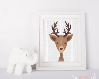 Digital poster file deer moose stag decoration design room kid nursery baby forest animals animal  woodland