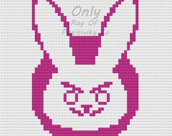 D.Va - Overwatch - Baby Blanket C2C Crochet Pattern Chart Graph
