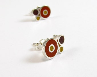 Sterling Silver Earrings, Colorful Bubbles, Ear Studs, Modern, Contemporary