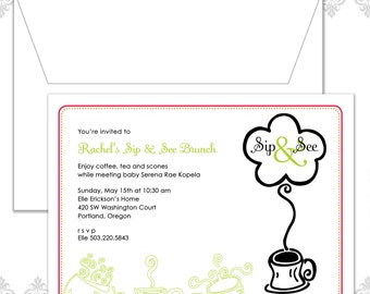 Sip and See Baby Shower Invitation