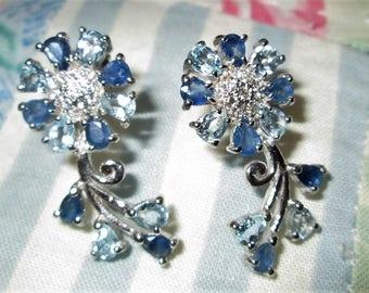 EARRINGS - SAPPHIRES - Blue TOPAZ - Czs  - Sterling Silver  - Post - 925 -Dangle earrings 429