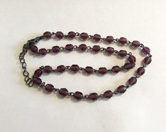 purple crystal rhinestone choker necklace vintage fashion jewelry on sale
