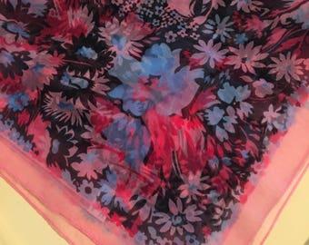 "Vintage K-Mart scarf, pink, blue, red, black flowers, original tag, 1970's, 100% nylon chiffon, NOS, 26"" x 26"" square"