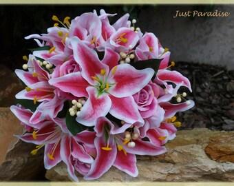 Wedding Bouquet Set - Star Gazer Lilly- Just Paradise