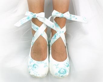 Something Blue Wedding Ballet Shoes Teal Flats Bridal Shoes Bridal Ballet Slippers Shoes Wedding Ballet Flats Custom Bridal Shoes
