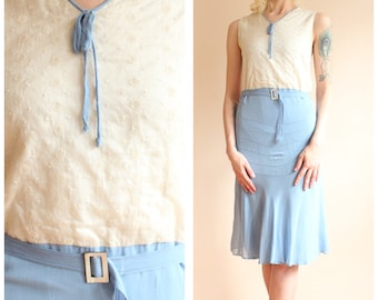 1930s Dress // Blue Sky Silk Dress // vintage 30s deco dress