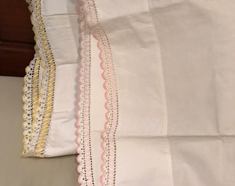Set of Two Vintage Shabby Chic Pink and Yellow Crocheted Hem Pillowcases/Shams