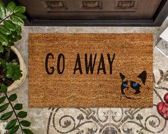 Go Away Door Mat, Hand Painted Doormat, Funny Cat Doormat, Housewarming  Gift,