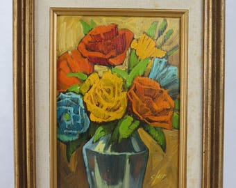 Original Oil Painting by Donna Clair, South Western Floral Still Life in Gilt Frame, New Mexico Artist