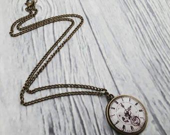 Clock necklace, clock jewelry, steampunk necklace, steampunk jewelry, bronze pendant, glass cabochon