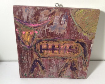 "RonnGo Art - Outsider Art Original Painting  10"" by 10"""