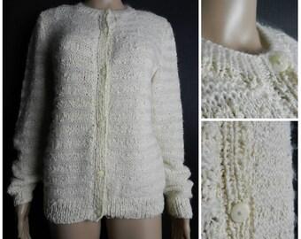 60s 70s hand knitted fuzzy acrylic cream cardigan open knit horizontal stripe crew neck M ~ L