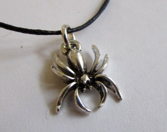 Spider Charm On Wax Cord Gothic Jewellery Adjustable Unisex Free UK Shipping + Gift Bag