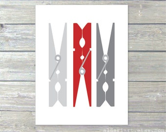 Clothespins Art Print - Laundry Room Wall Art  - Laundry Room Decor - Modern Decor - Grey and Red Custom Colors - Aldari Art