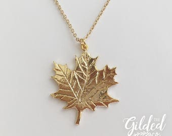 Make Like A Tree necklace — leaf fall y'all autumn, gold-plated dainty canada canadian canook hoser basic simple dainty nashville
