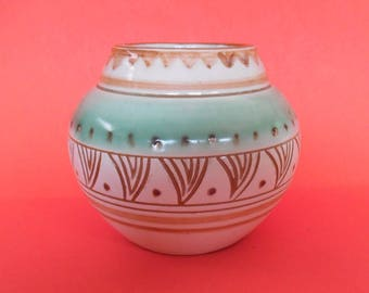 DANISH POTTERY Mid Century SIGNED Impressed Made in Denmark Haimof Hamid ? 23/11 cR Green Brown Cream Engraved Design Vintage Vase Pot Art