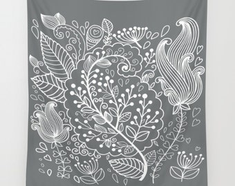 Gray Tapestry, White Tapestry, Floral Wall Hanging, Floral Tapestry, Flower Tapestry, Boho Tapestry, Bohemian Tapestry, Floral Illustration
