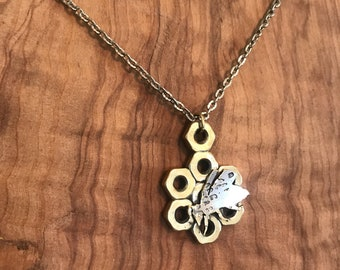 Bee and Honeycomb Pendant Necklace Upcycled Reclaimed Material