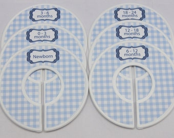 Baby Closet Dividers Baby Shower Gift  Blue Nursery Gingham Closet Organizers Finished Closet Dividers Baby Boy Gift