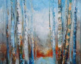 TREES STORIES #2 - original modern painting 70x50cm