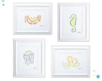 Ocean Animals Nursery Art Print Set of 4, Watercolor Crab, Seahorse, Jellyfish, and Octopus, Nautical Bathroom Art, Whimsical Sea Creatures