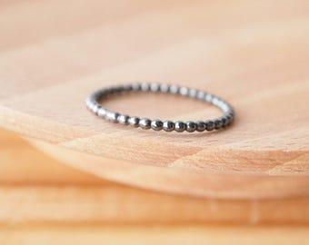 Bubble Band Ring - Size UK N, US 6.5 - Sale 25% off - Blackened Silver Ring - Oxidised Silver RIng - Plain Silver Band Ring - Simple Band