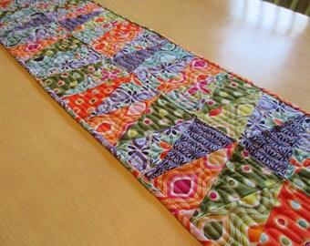 Tumbler Table Runner - Quilted Table Runner - Orange- Purple - Green - Polka Dots
