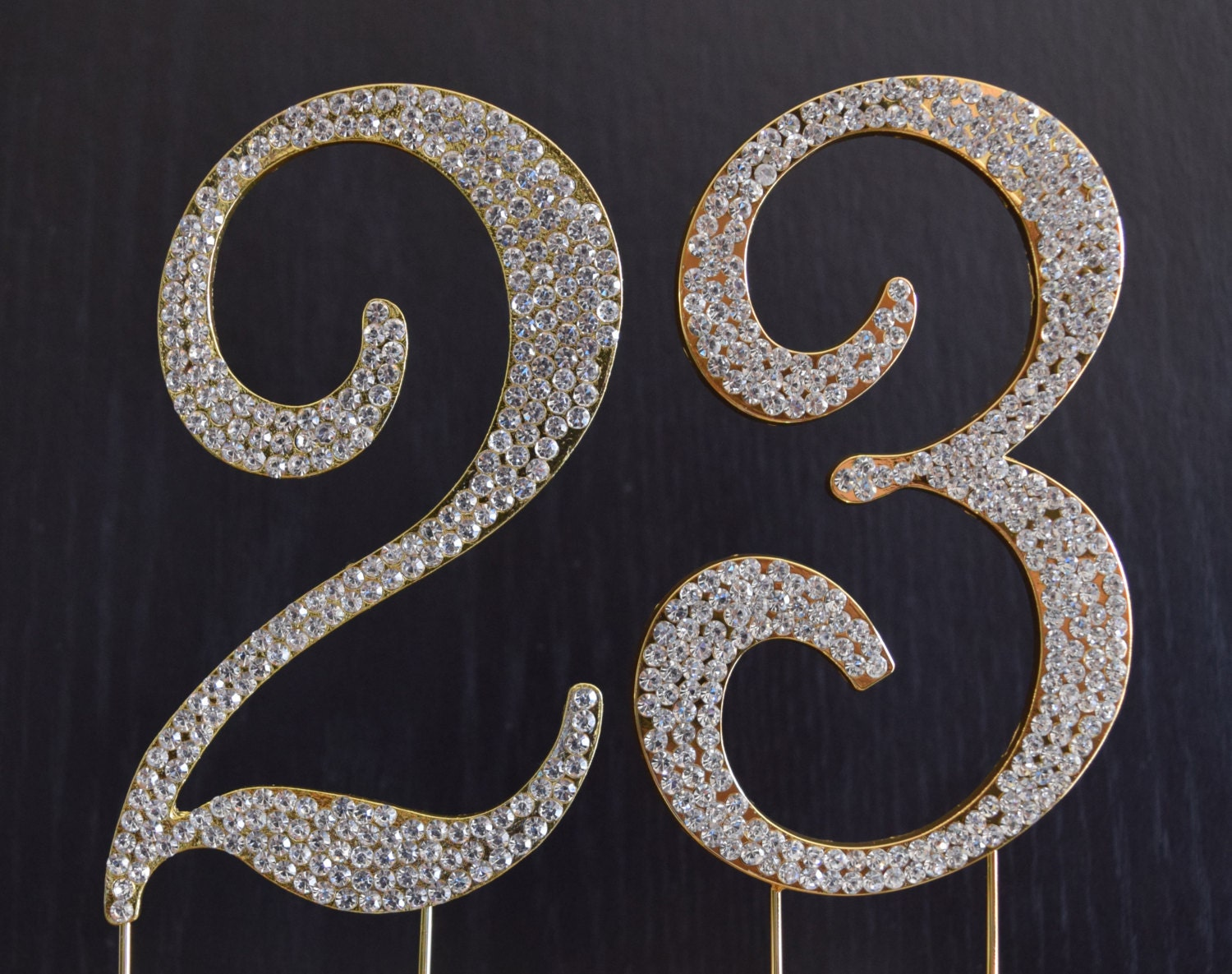 23rd Wedding Anniversary Gift Ideas: Rhinestone Gold NUMBER 23 Cake Topper 23rd Birthday Party