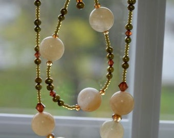 Golden Quartz Necklace and Bracelet SET with Rust, Brown, Green and Topaz Crystals and Pearls Handmade in Maine
