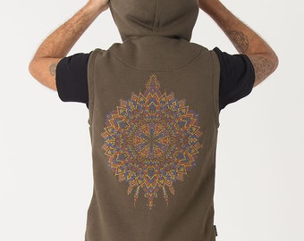 Men's Hooded Vest, Olive Green, Hood Vest, Festival Clothing, Mens Jacket with Hoodie, Psychedelic Clothing, SOL