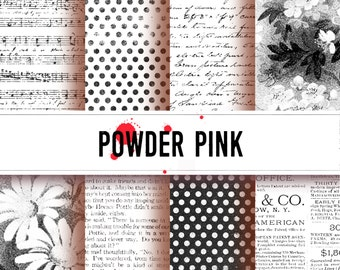 Digital Paper with black and white prints, perfect for backgrounds, scrapping, art journaling, postcards. tags Digital download