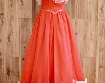 1970s Scarlet & White Antebellum Style Ballgown w/ Rosettes and Lace, Seventies Southern Belle Dress, Lizette Creations Halloween Costume