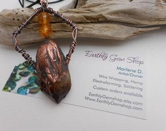 Rough Citrine Point Copper Electroformed Pendant - Boho Style Citrine Necklace