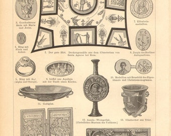 1894 Christian Art and Relics Vintage Engraving Print