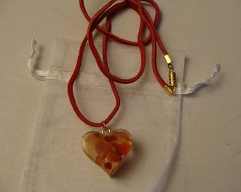 Red Heart Valentine's pendant carnelian gemstones red leather cord necklace