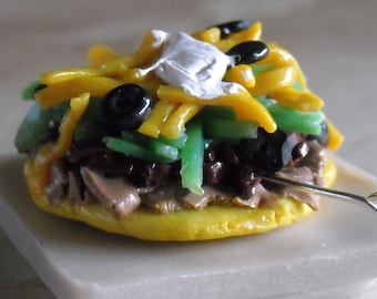 Tostada, Mexican Flat Taco- Necklace Charm, Pendant, Brooch, Taco Bell Inspired, Fast Food