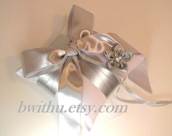 Wedding flower silver ring bearer pillow -Custom order.