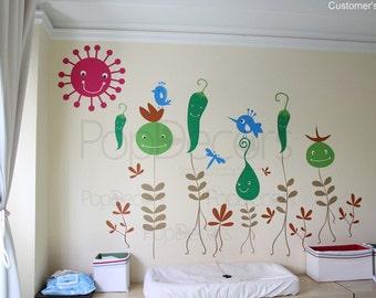 Wall Decals enfants, salle de jeux Wall Stickers Floral Stickers légumes fleurs - fond d'écran amovible conçu par décors Pop