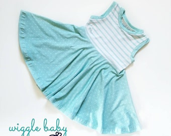 Aqua Dot Swing Dress, Spring Summer Full Circle Tank Dress, Girls Ballerina Twirl Dress