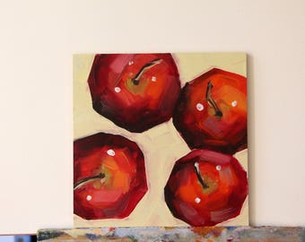 Still life with apples, original fruit painting, red apples, oil painting
